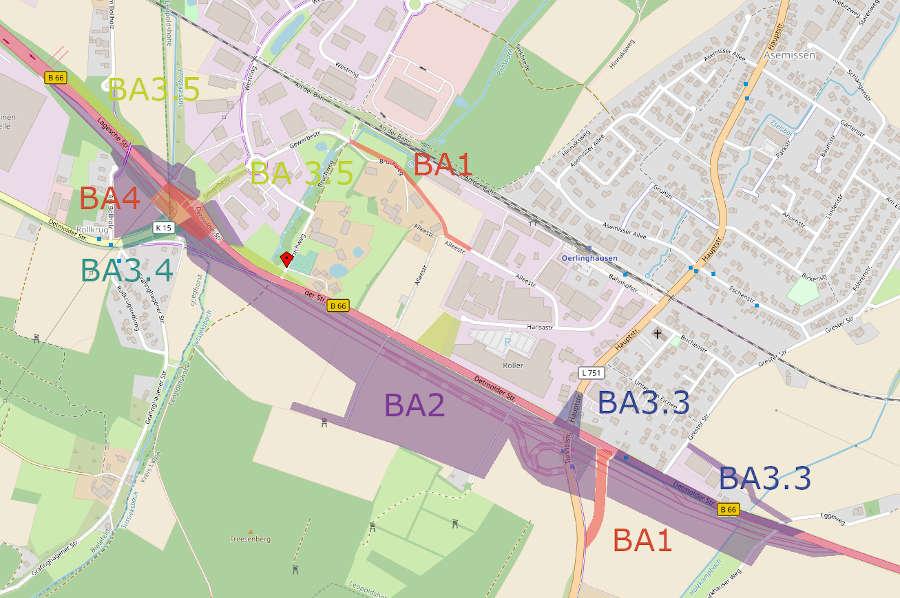 In vier Bauabschnitten (BA) lässt der Landesbetrieb Straßen.NRW die neue Trasse der B66 und ihre Nebenanlagen bauen. Grafik: Thomas Dohna