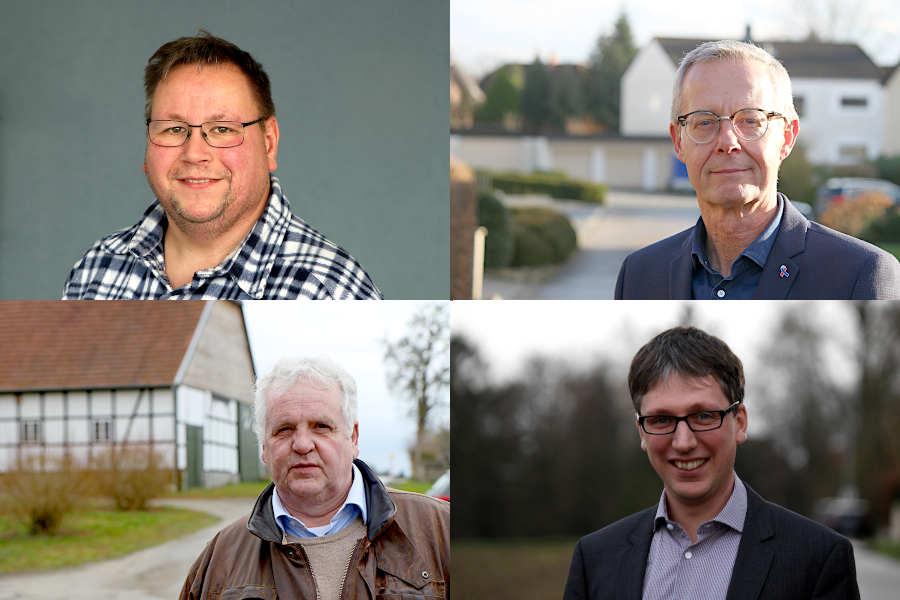 Hermann Graf von der Schulenburg (links unten) hatte schriftliche Fragen an die Gemeindeverwaltung gestellt. Auf Antrag des SPD-Fraktionsvorsitzenden Thomas Jahn (links oben) sollte Bürgermeister Martin Hoffmann (SPD, rechts unten) die Fragen nicht während der Sitzung beantworten. Axel Meckelmann (CDU, rechts oben) unterstützte den Antrag der SPD. Fotos: Thomas Dohna