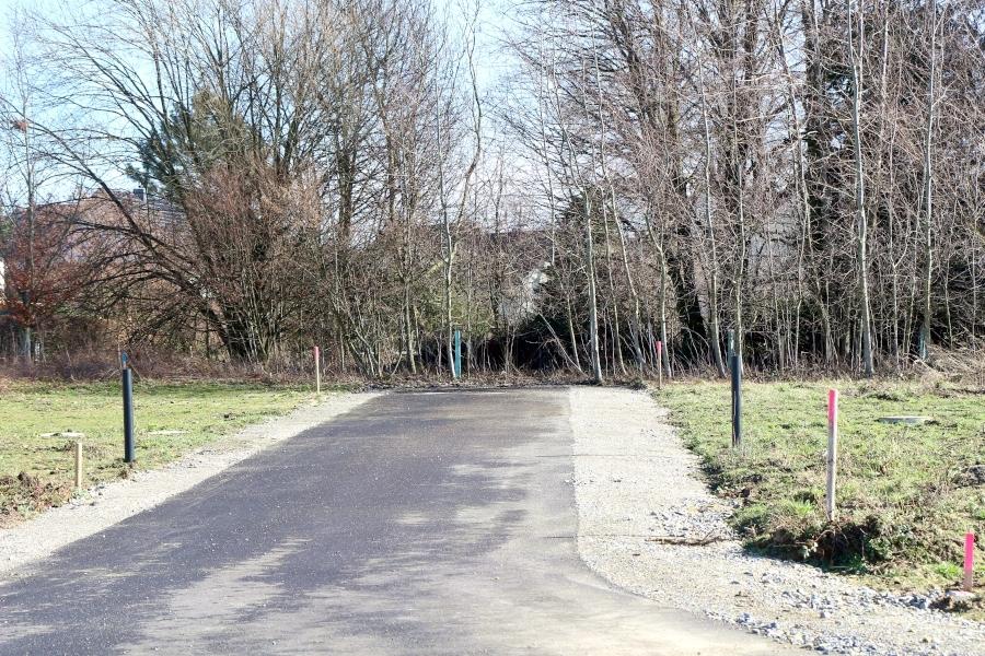 Hier, am Ende einer Stichstraße im Baugebiet Bachstraße könnte es weiter zur Wiesenstraße gehen, wenn der Eigentümer des mit Gehölz bestandenen Grünstreifen es zuließe. Jetzt soll die Gemeinde eine als Straße geplante Parzelle umwidmen. Foto: Thomas Dohna