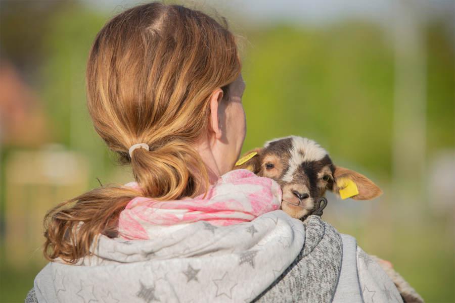Pia Völker mit einem der neugeboren Lämmer, das auf den Namen Milly hört. Foto: Pia Völker