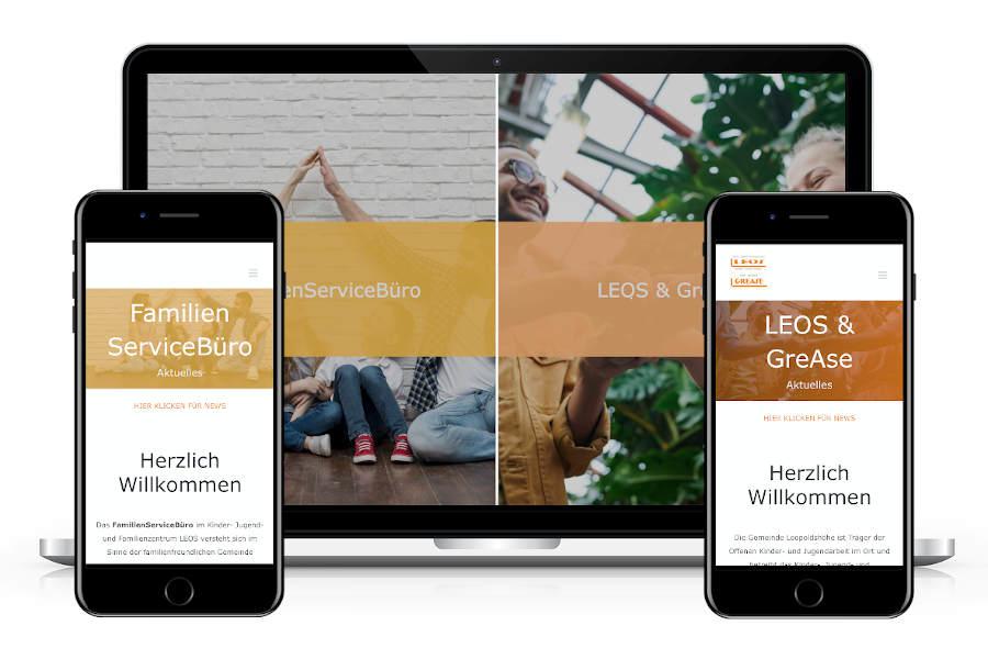 Die neue Website für Leos, Grease und Familienservicebüro ist fit für alle Ausgabegeräte.