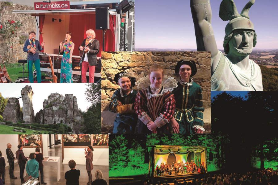 Kultur satt bieten die Kultureinrichtungen des Landesverbandes Lippe in Spätsommer 2021. (Collage: Landesverband Lippe)