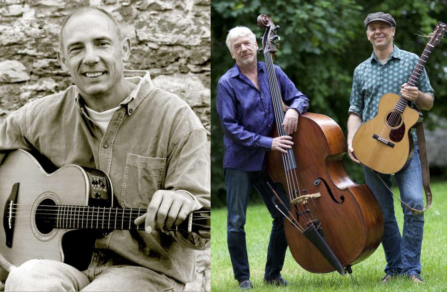 Michael Motzek (links), lippischer Liedermacher und das Acoustic Groove Duo Carsten Hormes und Tony Kaltenberg. Fotos: Privat/Collage: LeoN