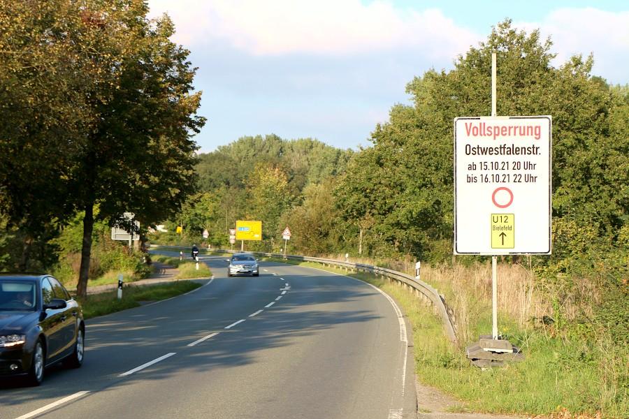 Am kommenden Wochenende soll die Ostwestfalenstraße in Richtung Herford gesperrt werden. Ganz sicher ist das noch nicht. Foto: Thomas Dohna